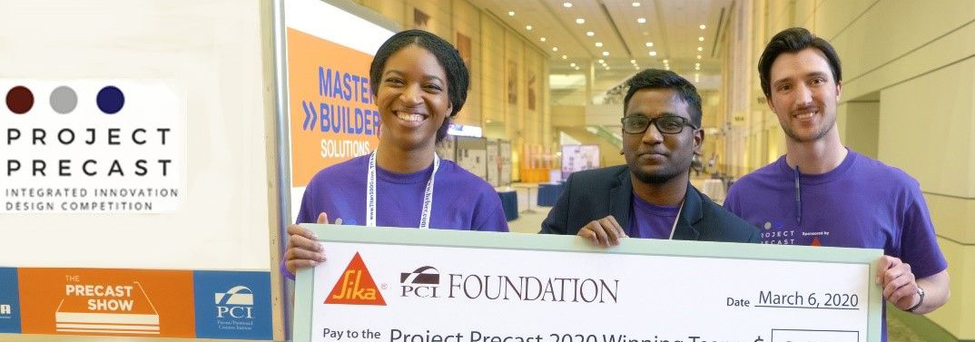 The competition required the 5 student teams, made up of 1 architect, 1 engineer and 1 construction management student each to design a high school football stadium in less than 40 hours.