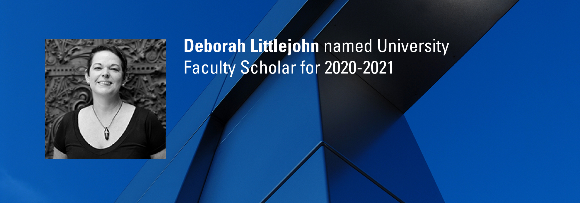 Deborah Littlejohn, associate professor of graphic design was recently named a University Faculty Scholar for 2020-2021. These 21 early- and mid-career faculty receive this designation in recognition of their outstanding academic achievements and contributions to NC State through their teaching, scholarship and service to the university and beyond.