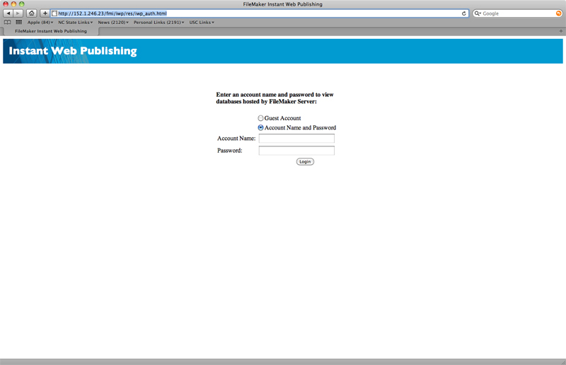 DesignCheckout Log-in Screen