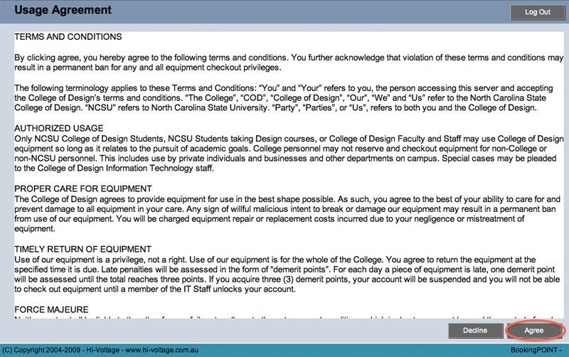 DesignCheckout Loan Agreement Page