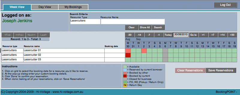 DesignCheckout Saved Reservation Screen