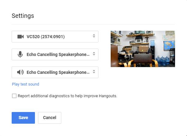 Google Hangouts Windows Prefernces