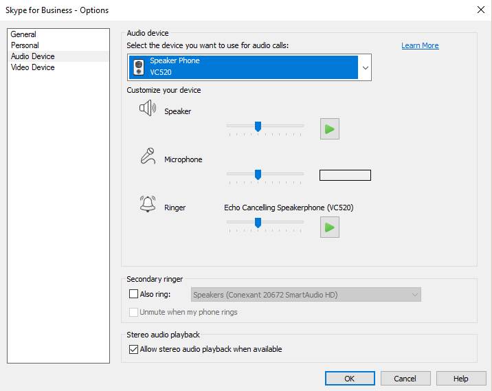 Skype Windows Audio Preferences