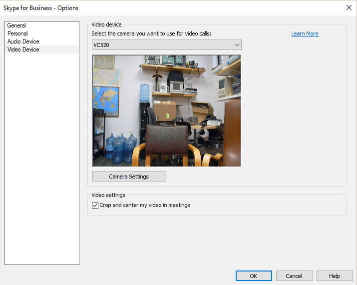 Skype Windows Video Preferences