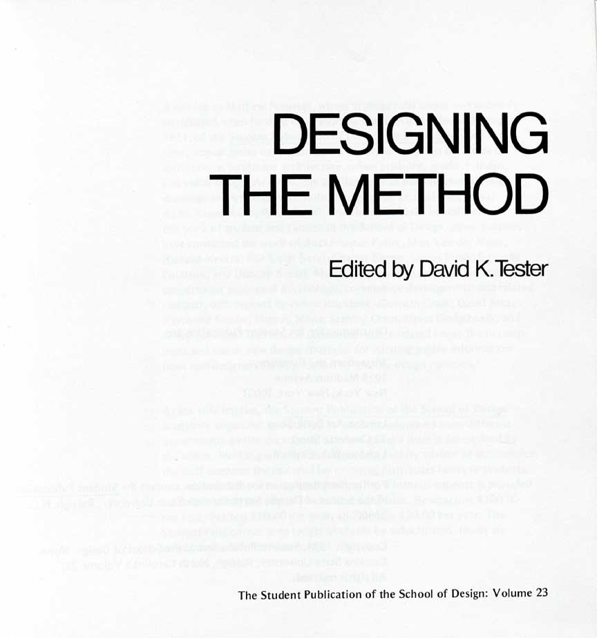 Volume 23: Designing the Method (1974)