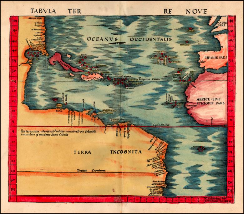 'Terra Nova' (the Americas) by Martin Waldseemüller, 1513.