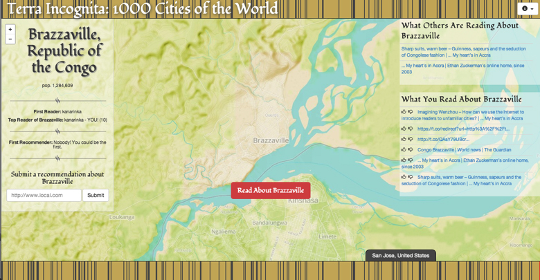 Terra Incognita: 1000 Cities of the World, screenshot. Users arrive at an unexplored city in Terra Incognita each time they open a new Tab in their browser.